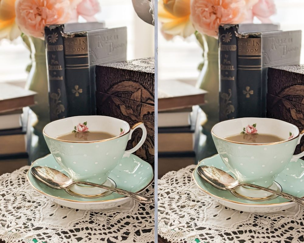 Two slightly different images of a mint green teacup in front of antique books. The one on the left is a little crooked, while the one on the right is straightened. Framing your photograph by straightening the lines will help the viewer feel safe and comfortable.