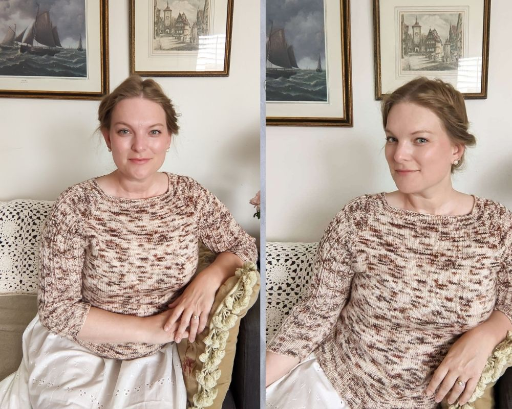 Two pictures of me wearing a speckled brown, burgundy, and cream raglan sweater. On the left, I am facing the camera straight-on, but my posture is hunched. On the right, I am facing the camera in 3/4 profile with straighter posture. When photographing your knits while sitting down, it helps to know little tricks to counteract your furniture's effects on your normal posture.